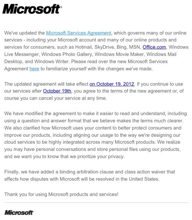 Conditions d'utilisation Microsoft