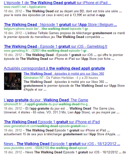 The Walking Dead - SERP Google