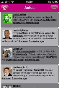 Appli EMP2013 - actus live tweet