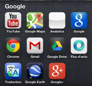 Outils Google : youtube, Google maps, Chrome, Gmail, Google Drive, Google Earth, Google+
