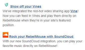 Vine et SoundCloud intégrés à RebelMouse