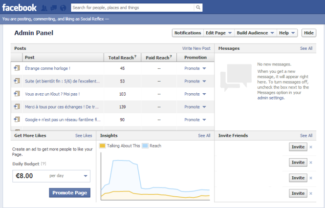 admin panel Facebook fanpage