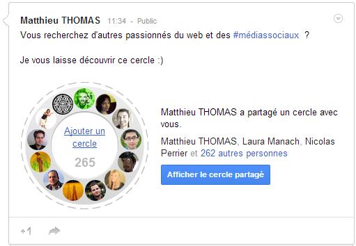 cercle web et social media sur Google+