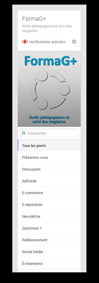 communauté privée Google+ utilisée en formation